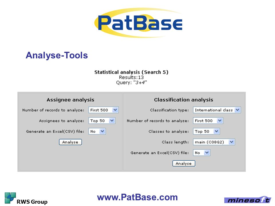 Analyse-Tools www.PatBase.com RWS Group
