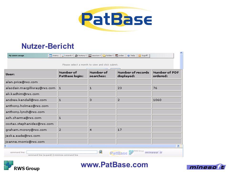 Nutzer-Bericht www.PatBase.com RWS Group