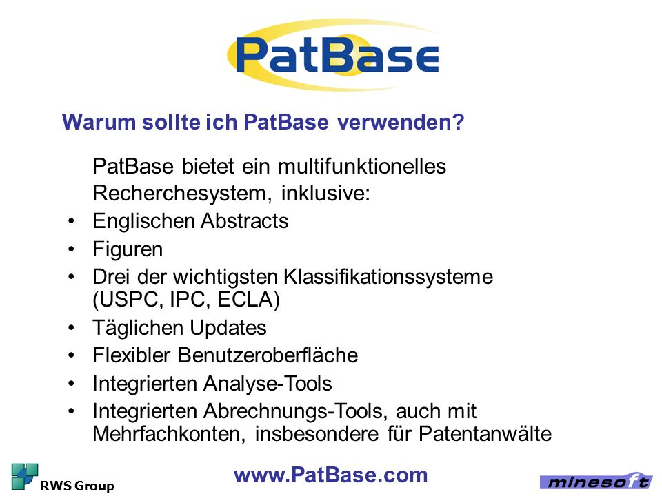 Warum sollte ich PatBase verwenden