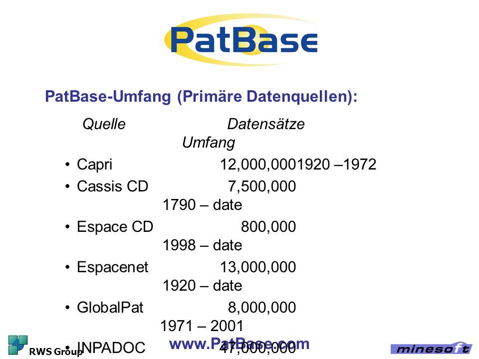 PatBase-Umfang (Primäre Datenquellen):