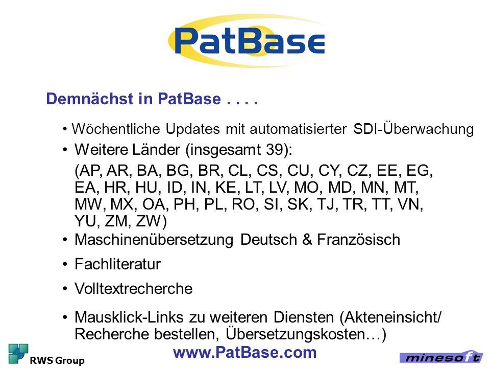 Demnächst in PatBase . . . . www.PatBase.com