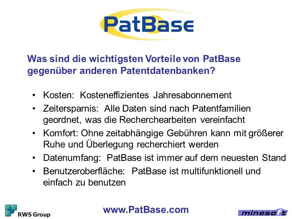 Was sind die wichtigsten Vorteile von PatBase gegenüber anderen Patentdatenbanken