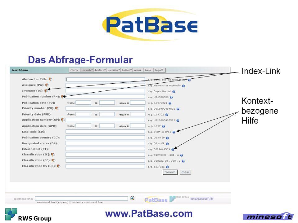 Das Abfrage-Formular www.PatBase.com Index-Link Kontext-bezogene Hilfe