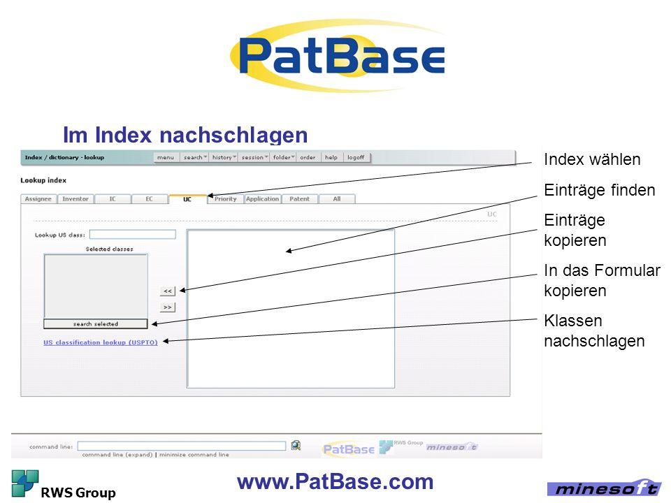 Im Index nachschlagen www.PatBase.com Index wählen Einträge finden