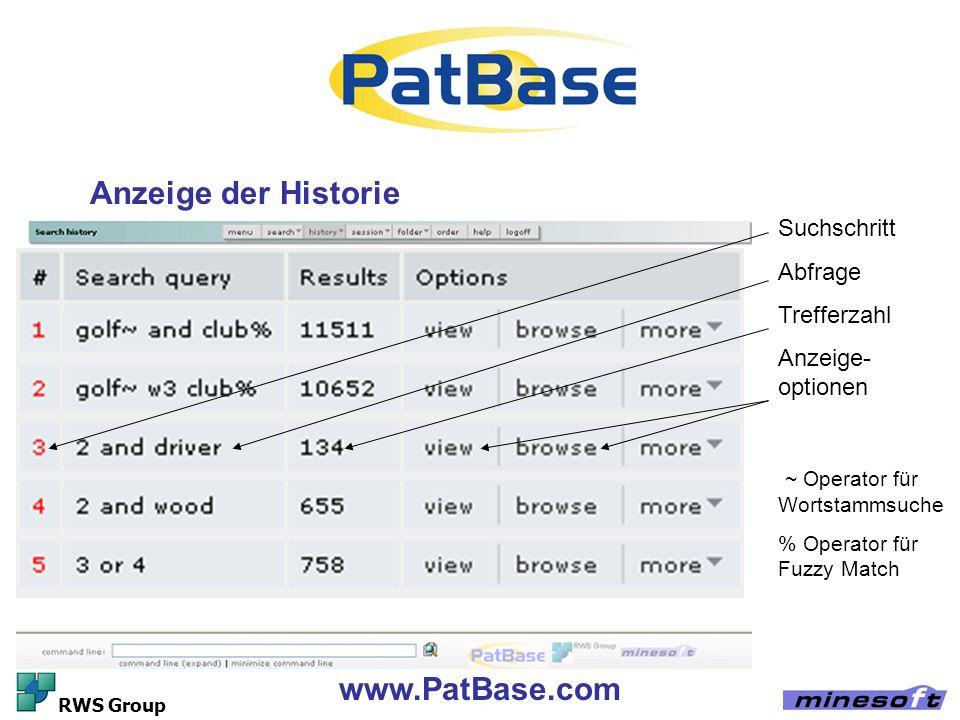 Anzeige der Historie www.PatBase.com Suchschritt Abfrage Trefferzahl
