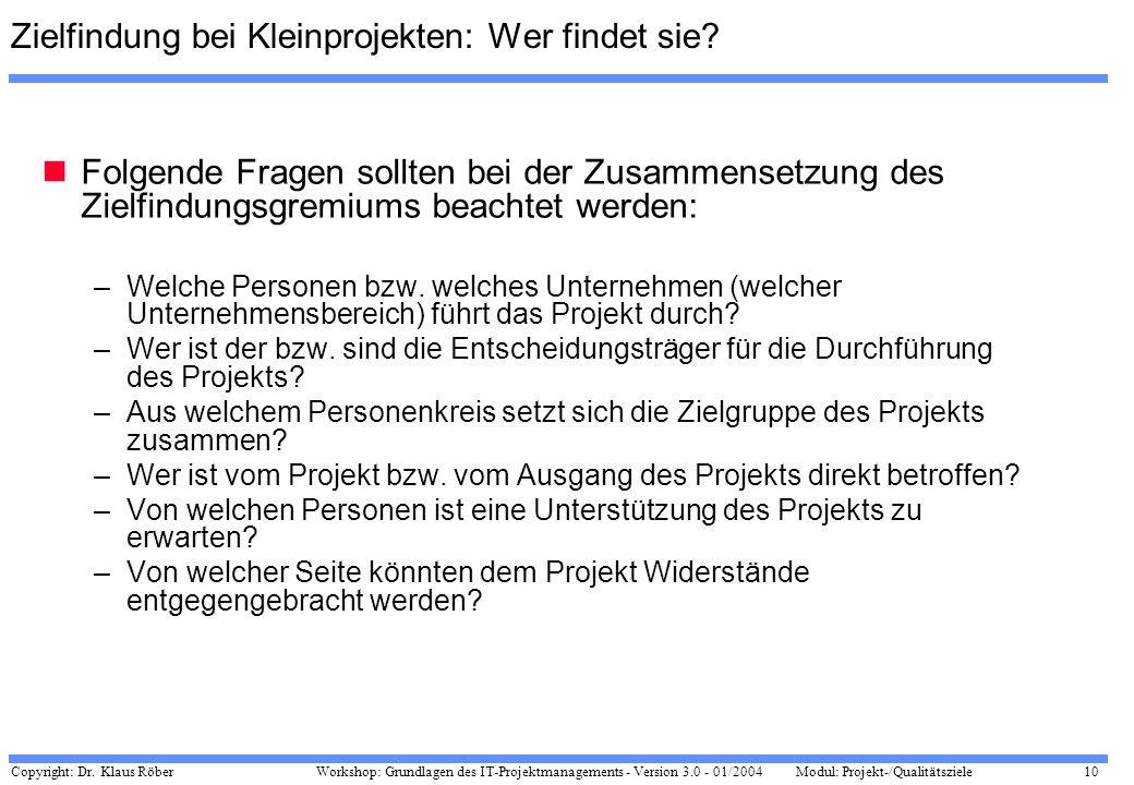 Zielfindung bei Kleinprojekten: Wer findet sie