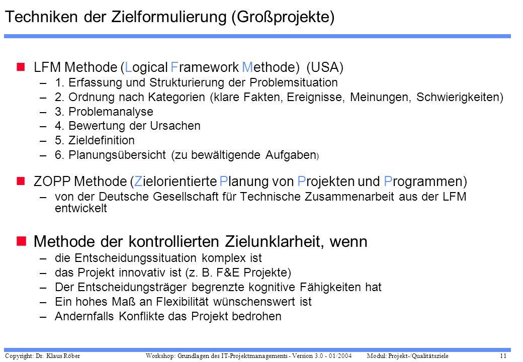 Techniken der Zielformulierung (Großprojekte)