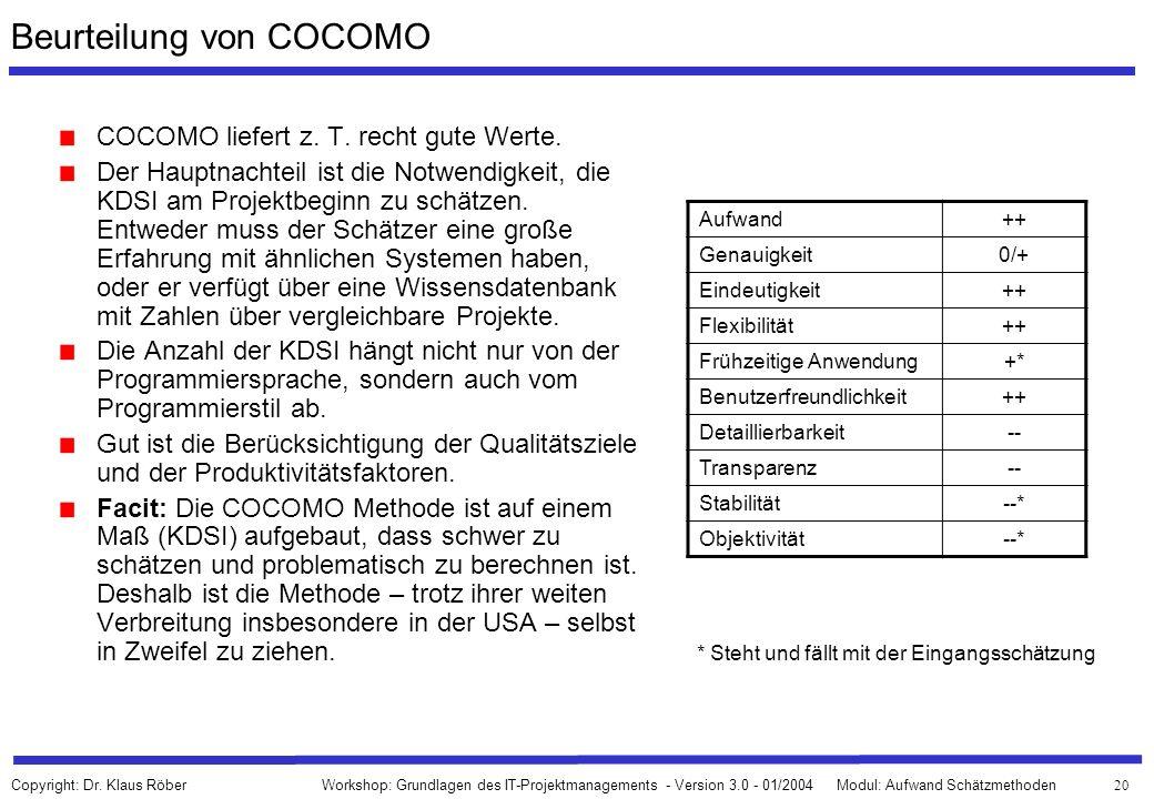 Beurteilung von COCOMO