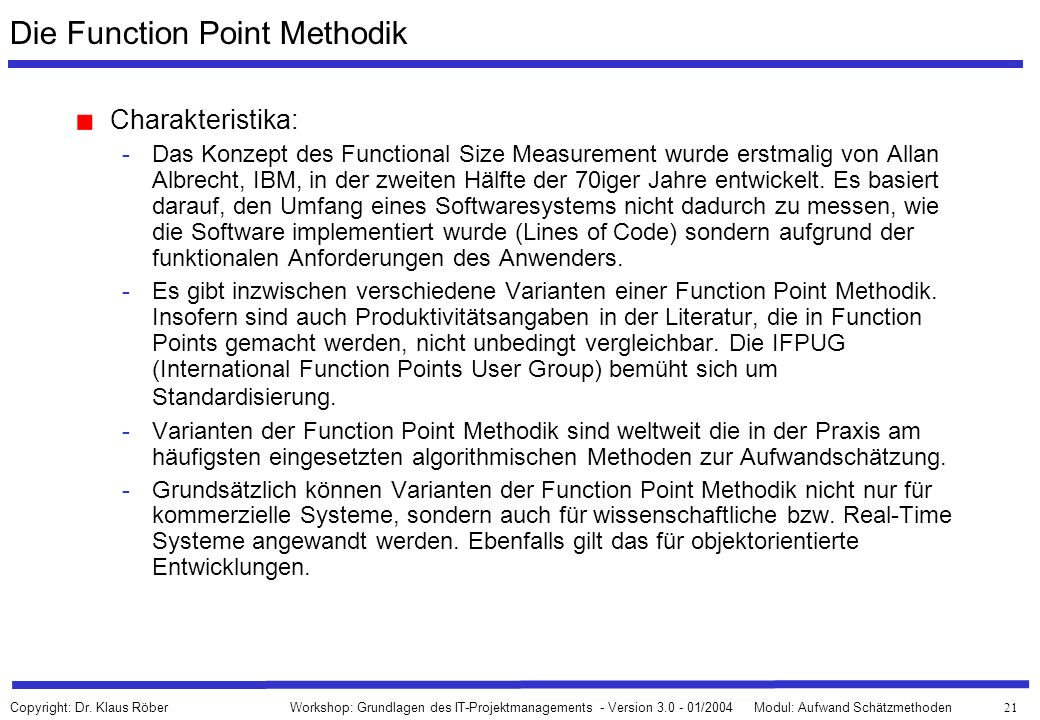 Die Function Point Methodik