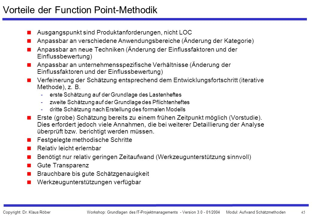 Vorteile der Function Point-Methodik