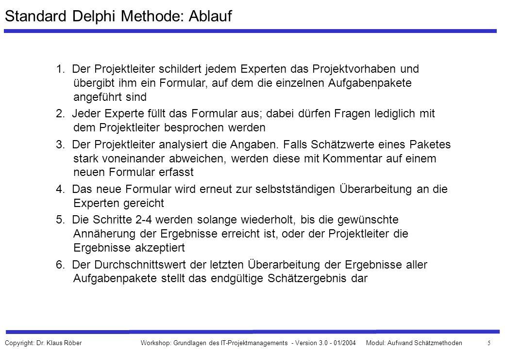 Standard Delphi Methode: Ablauf
