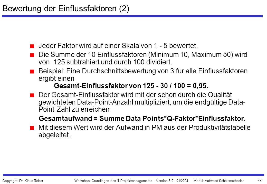Bewertung der Einflussfaktoren (2)