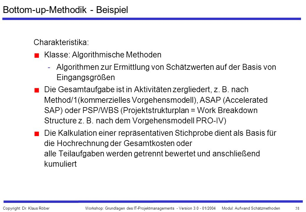 Bottom-up-Methodik - Beispiel