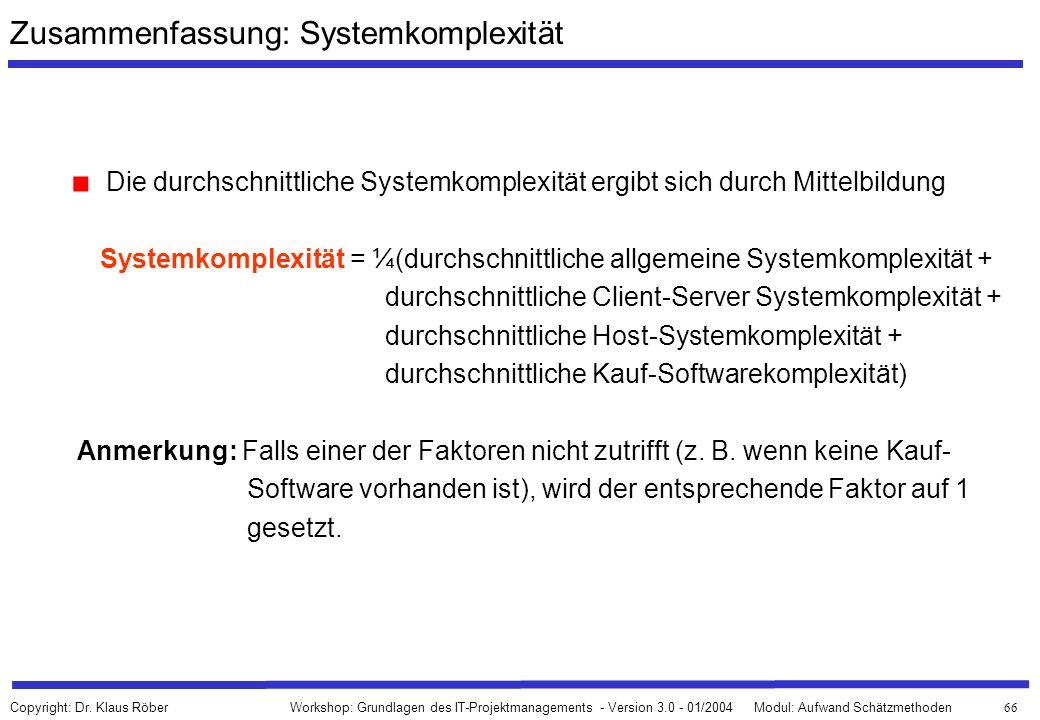 Zusammenfassung: Systemkomplexität