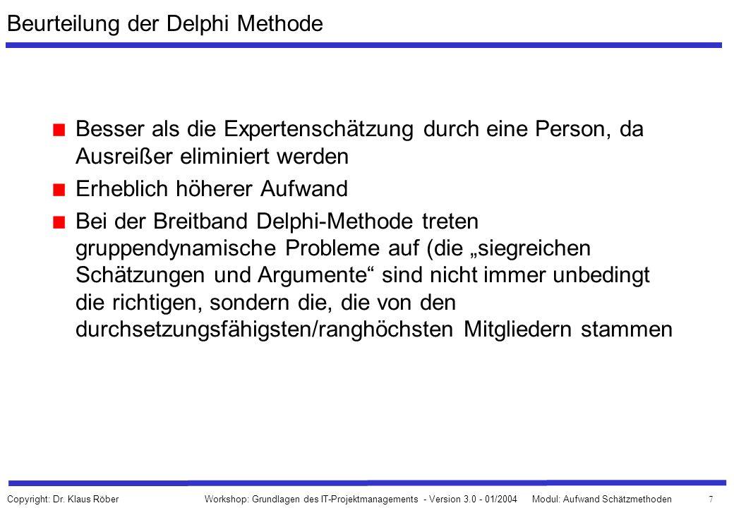 Beurteilung der Delphi Methode