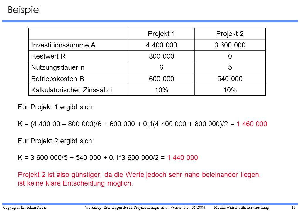 Beispiel Projekt 1 Projekt 2 Investitionssumme A 4 400 000 3 600 000