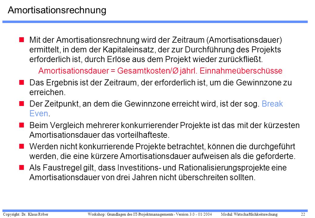 Amortisationsrechnung