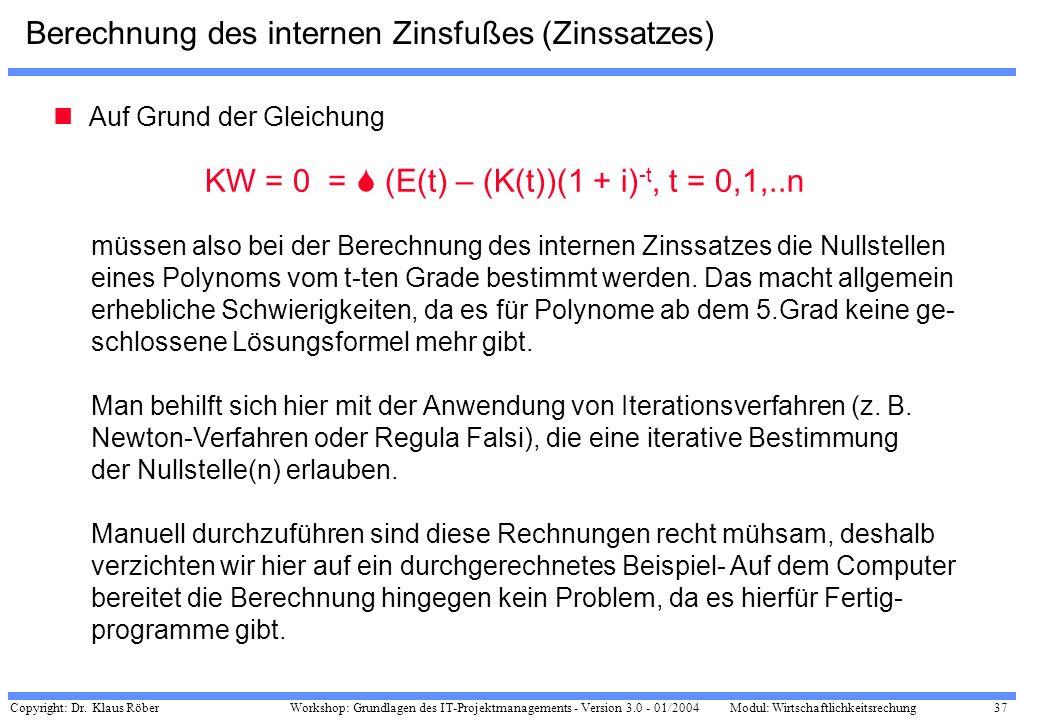 Berechnung des internen Zinsfußes (Zinssatzes)
