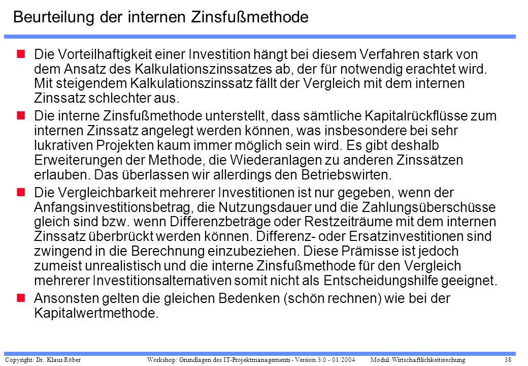 Beurteilung der internen Zinsfußmethode