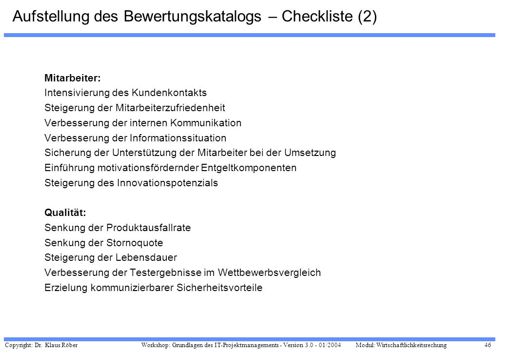 Aufstellung des Bewertungskatalogs – Checkliste (2)