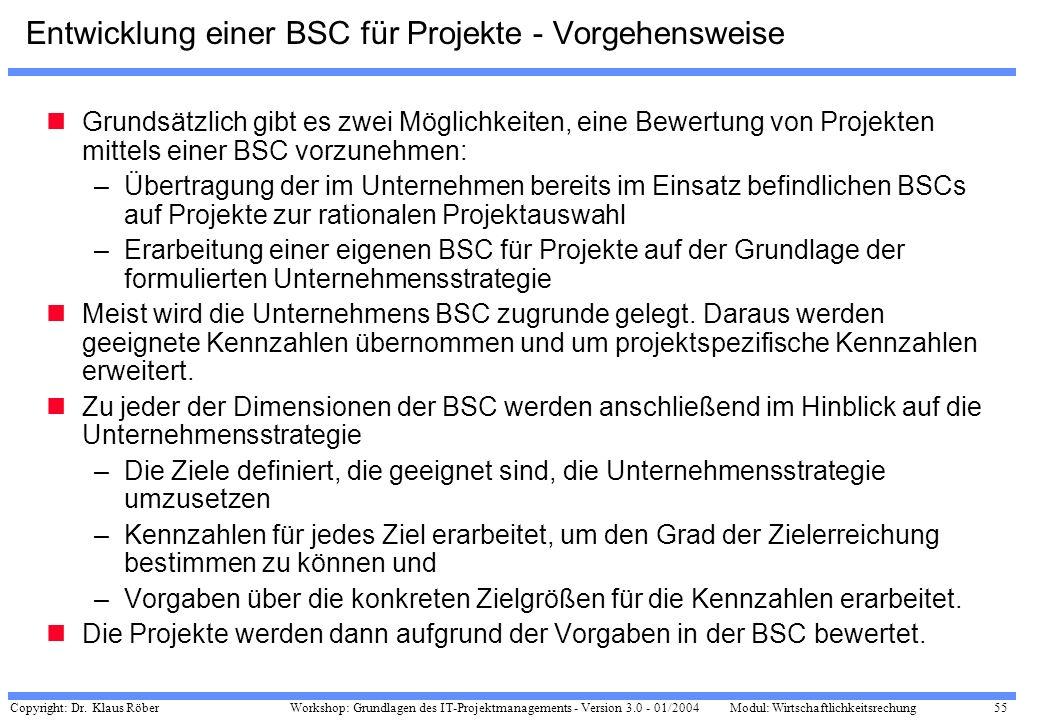 Entwicklung einer BSC für Projekte - Vorgehensweise