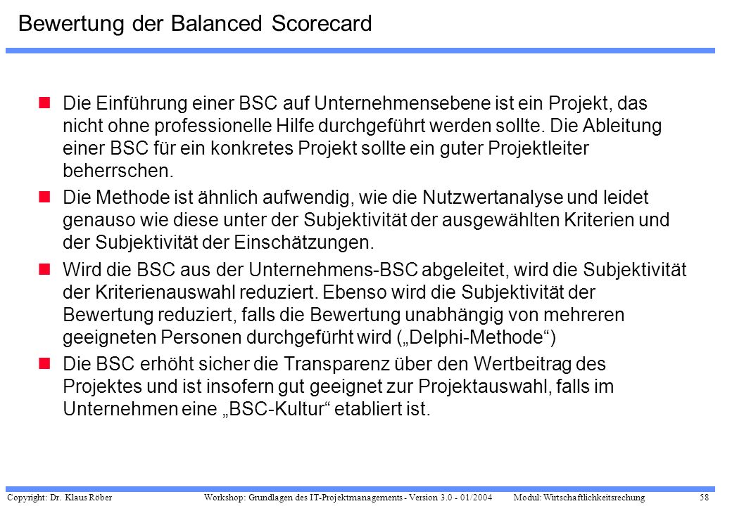 Bewertung der Balanced Scorecard