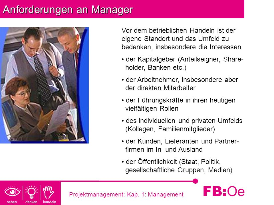 Anforderungen an Manager