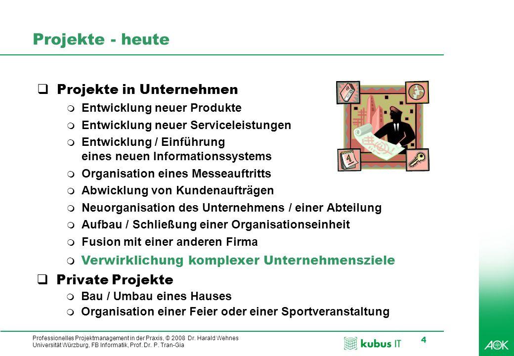 Projekte - heute Projekte in Unternehmen Private Projekte