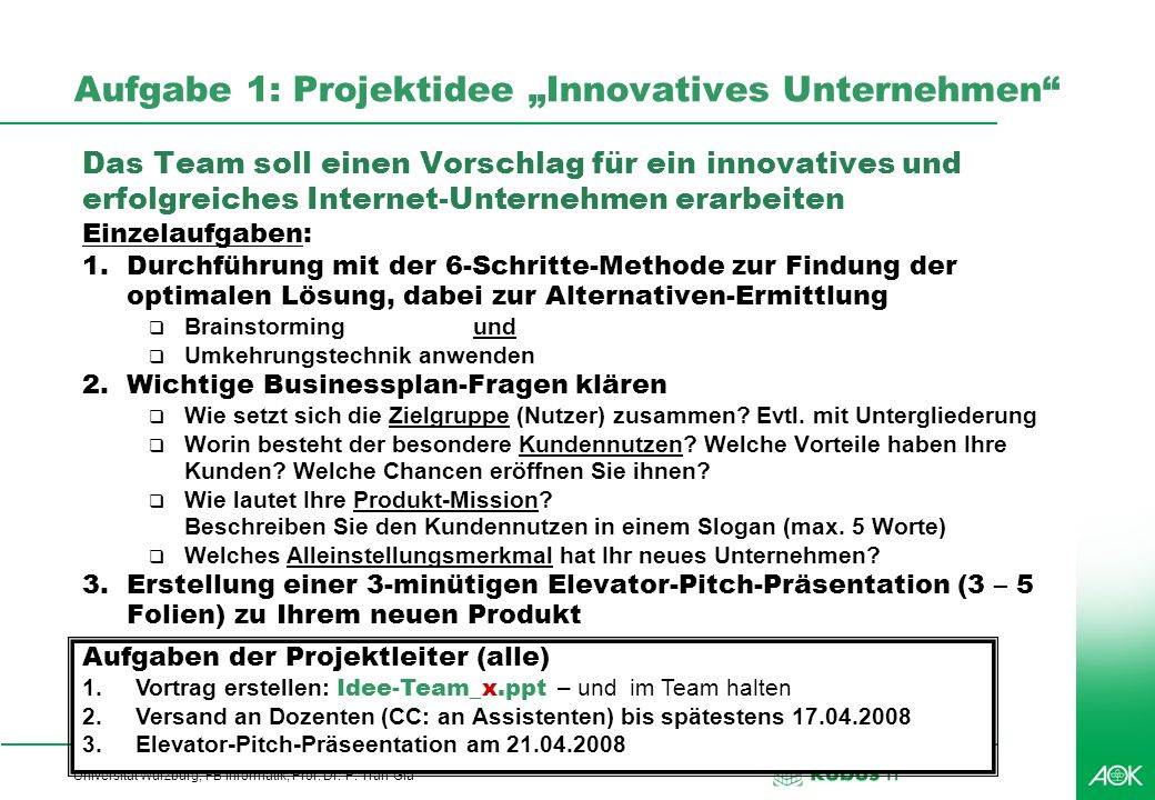 "Aufgabe 1: Projektidee ""Innovatives Unternehmen"