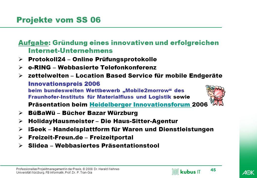 Projekte vom SS 06 Aufgabe: Gründung eines innovativen und erfolgreichen Internet-Unternehmens. Protokoll24 – Online Prüfungsprotokolle.