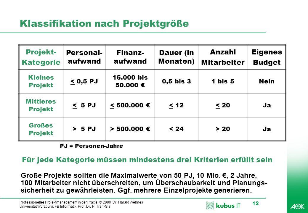 Klassifikation nach Projektgröße