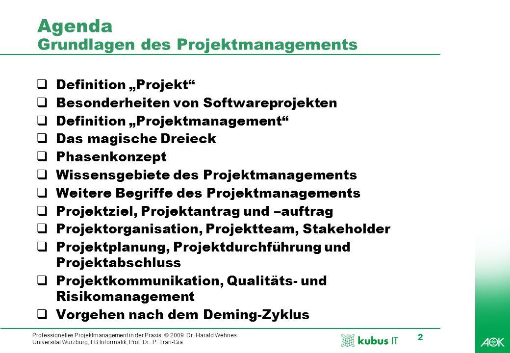 Agenda Grundlagen des Projektmanagements