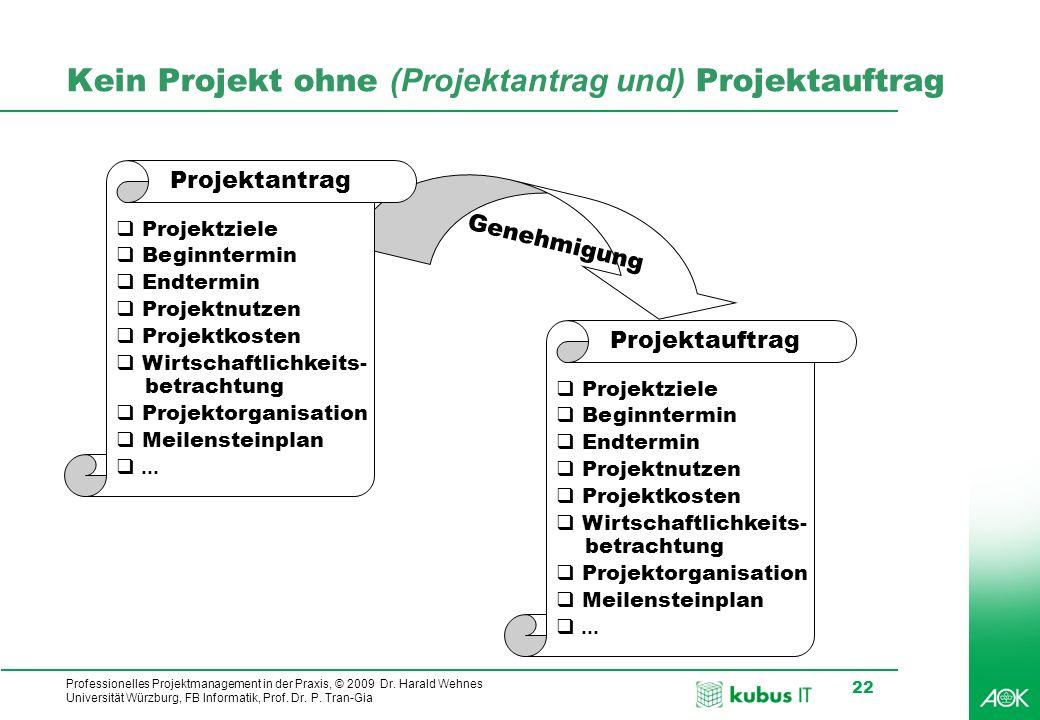 Kein Projekt ohne (Projektantrag und) Projektauftrag