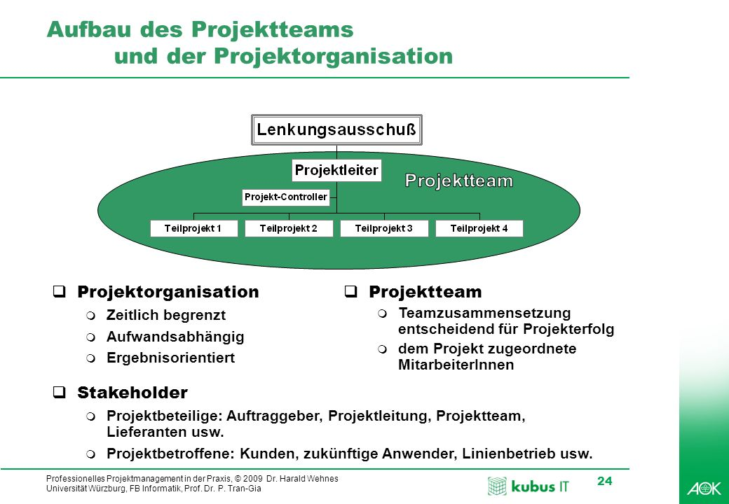 Aufbau des Projektteams und der Projektorganisation