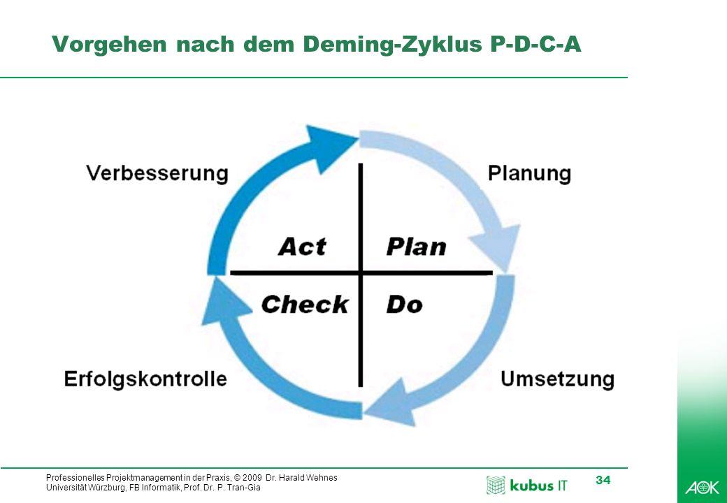 Vorgehen nach dem Deming-Zyklus P-D-C-A