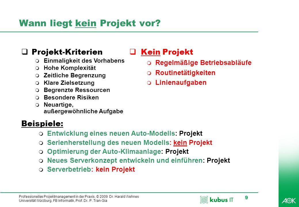 Wann liegt kein Projekt vor