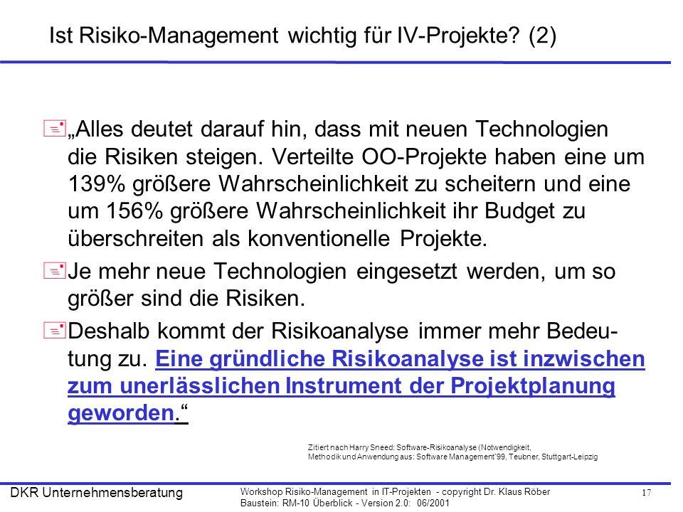 Ist Risiko-Management wichtig für IV-Projekte (2)