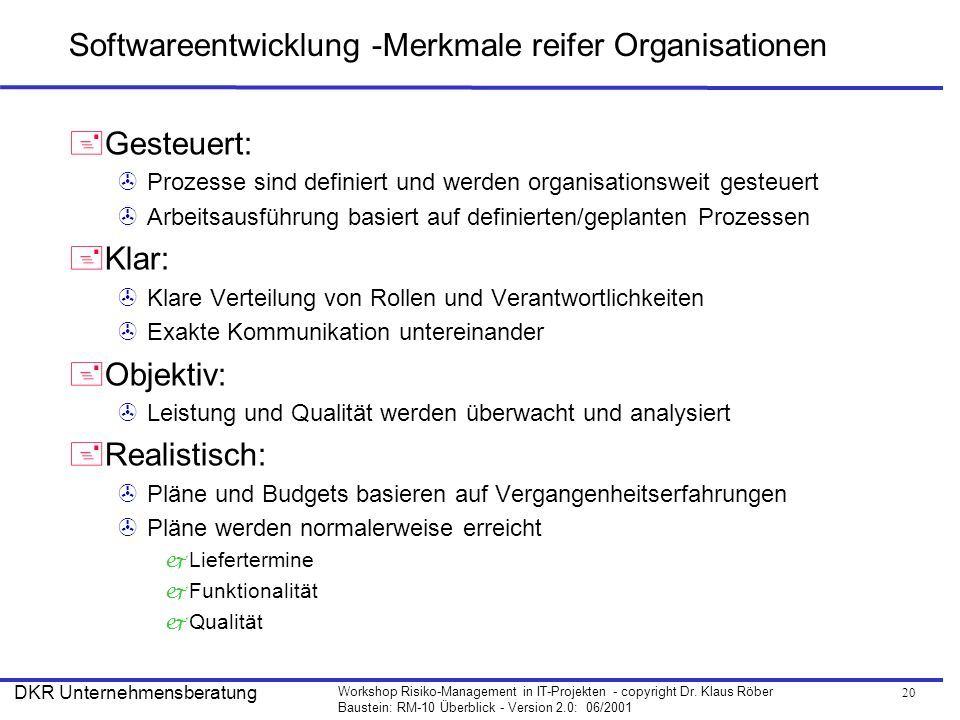 Softwareentwicklung -Merkmale reifer Organisationen