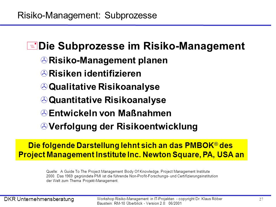 Risiko-Management: Subprozesse