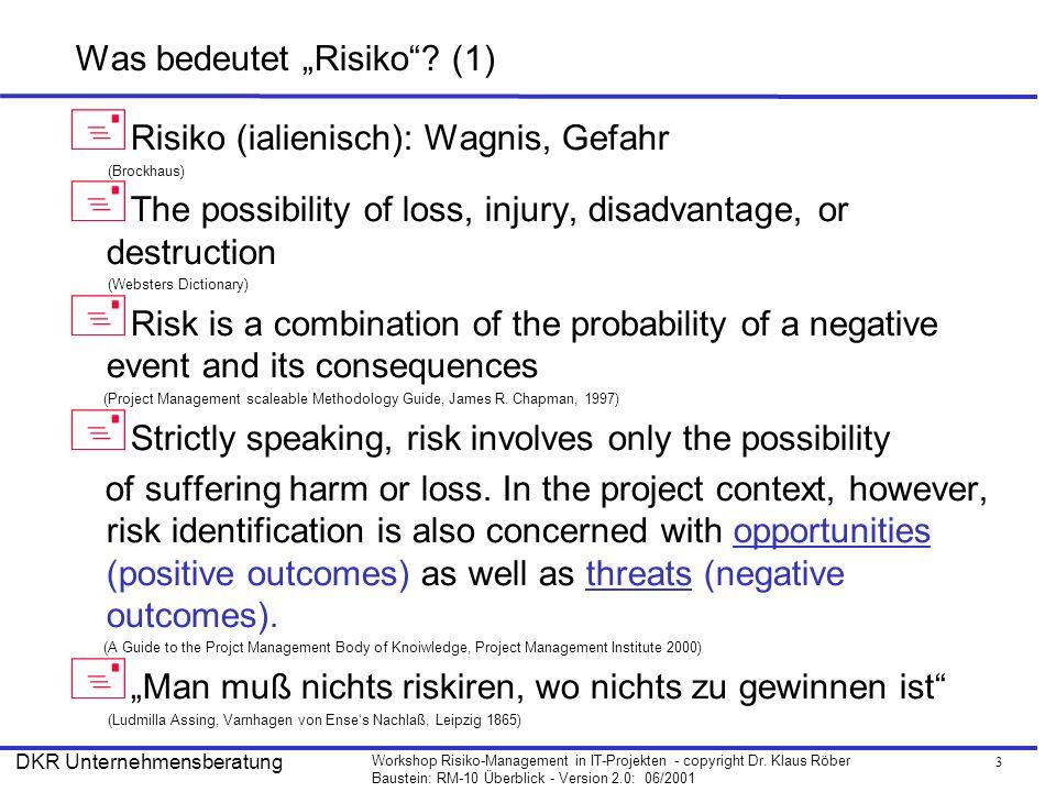 """Was bedeutet """"Risiko (1)"""