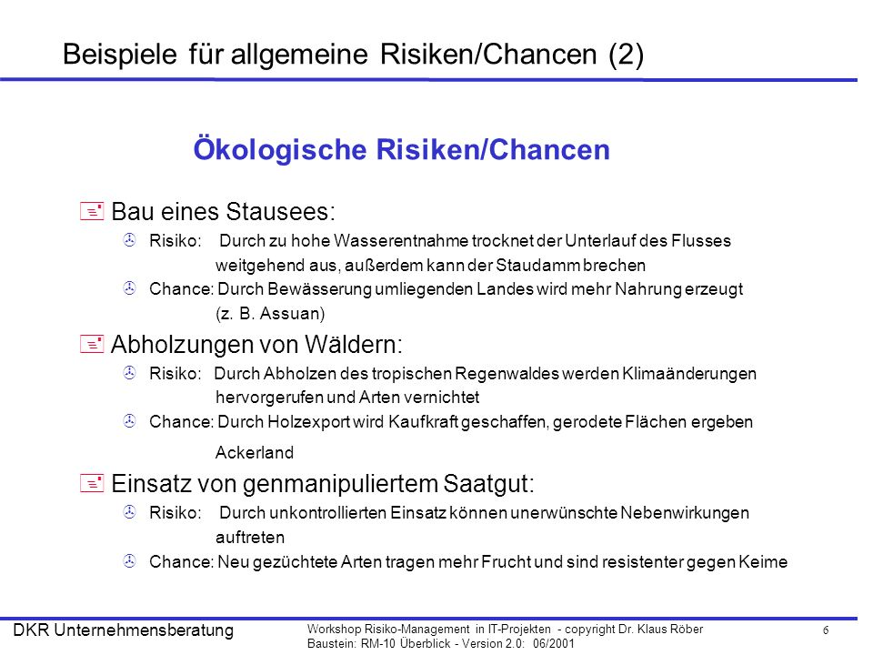 Beispiele für allgemeine Risiken/Chancen (2)