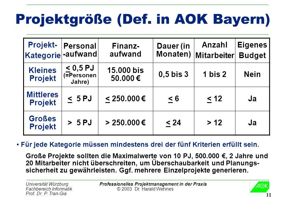 Projektgröße (Def. in AOK Bayern)