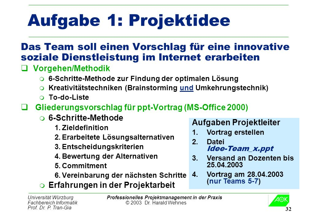 Aufgabe 1: Projektidee Das Team soll einen Vorschlag für eine innovative. soziale Dienstleistung im Internet erarbeiten.
