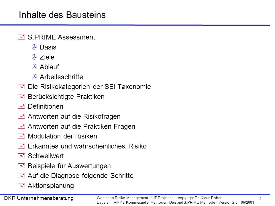 Inhalte des Bausteins S:PRIME Assessment Basis Ziele Ablauf