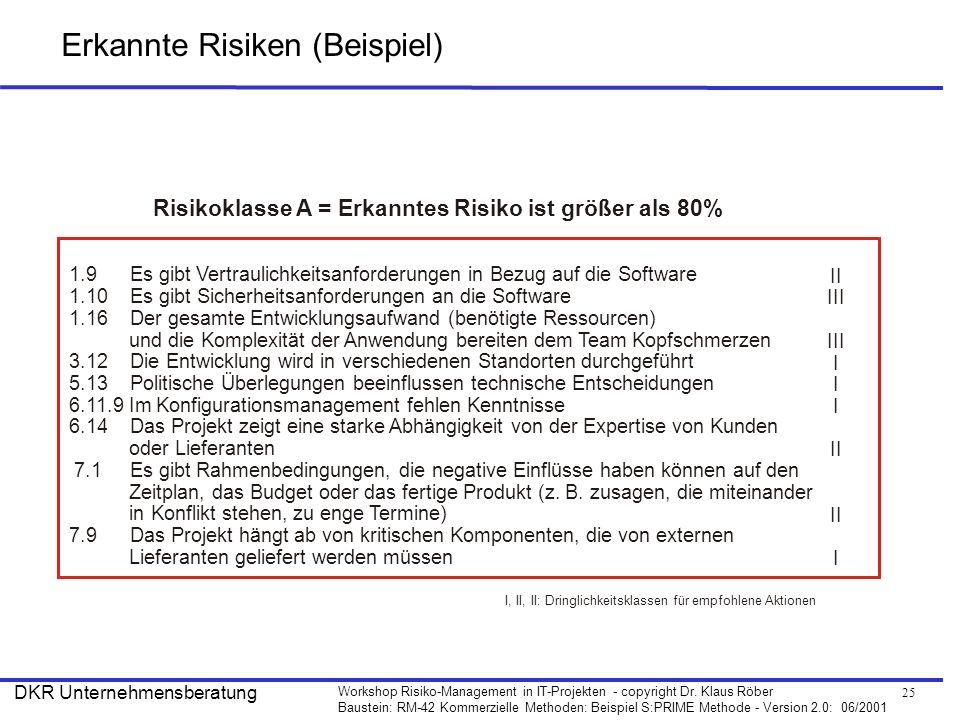 Erkannte Risiken (Beispiel)