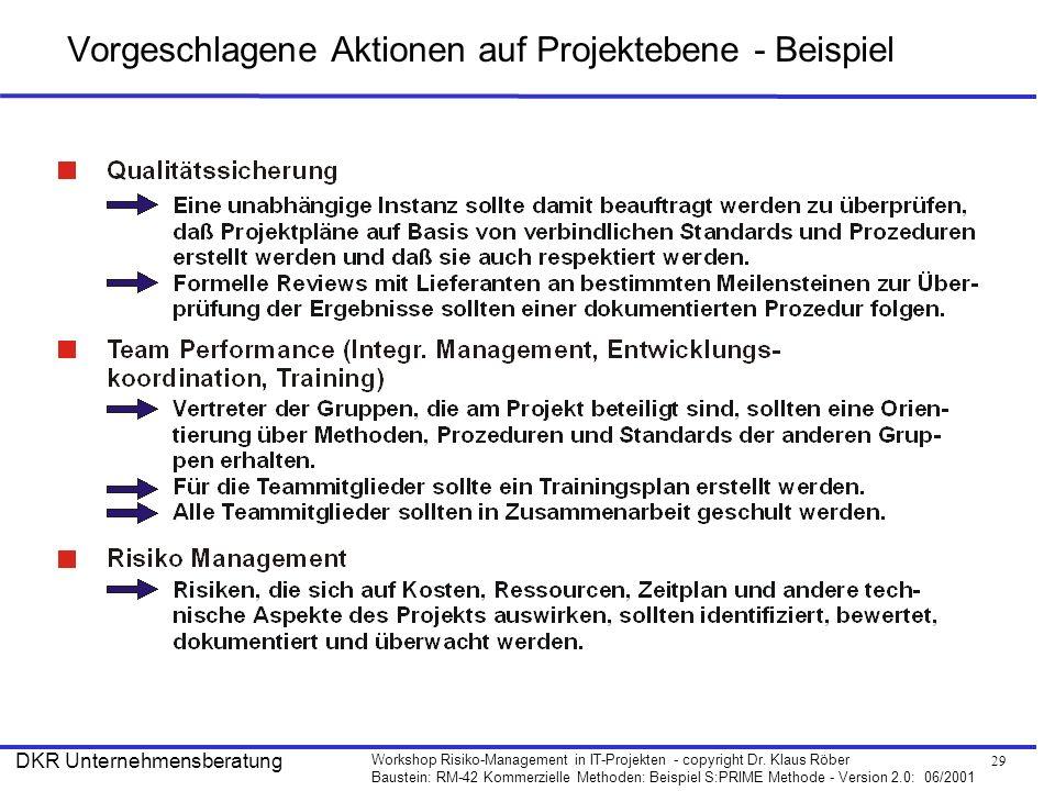 Vorgeschlagene Aktionen auf Projektebene - Beispiel