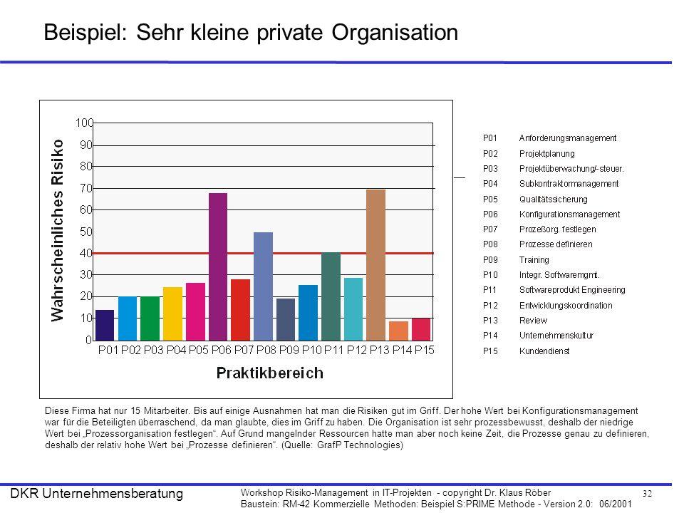 Beispiel: Sehr kleine private Organisation