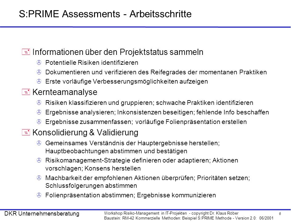 S:PRIME Assessments - Arbeitsschritte