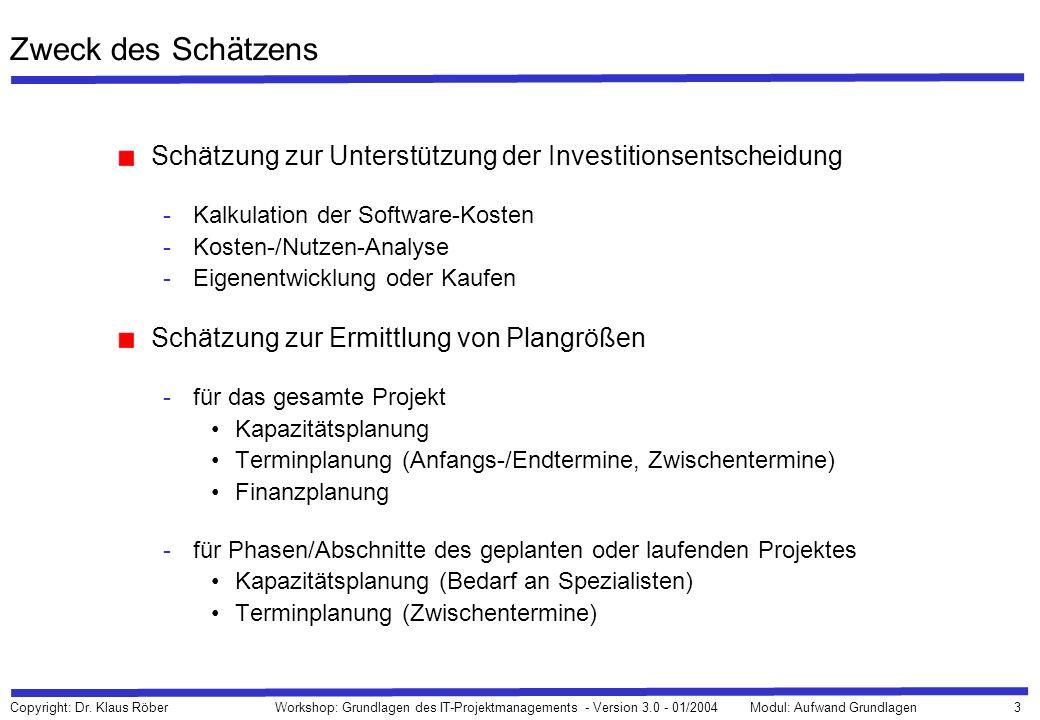Zweck des SchätzensSchätzung zur Unterstützung der Investitionsentscheidung. Kalkulation der Software-Kosten.