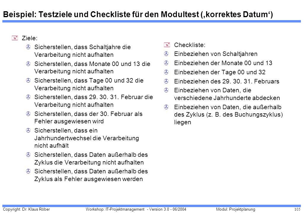 Beispiel: Testziele und Checkliste für den Modultest ('korrektes Datum')